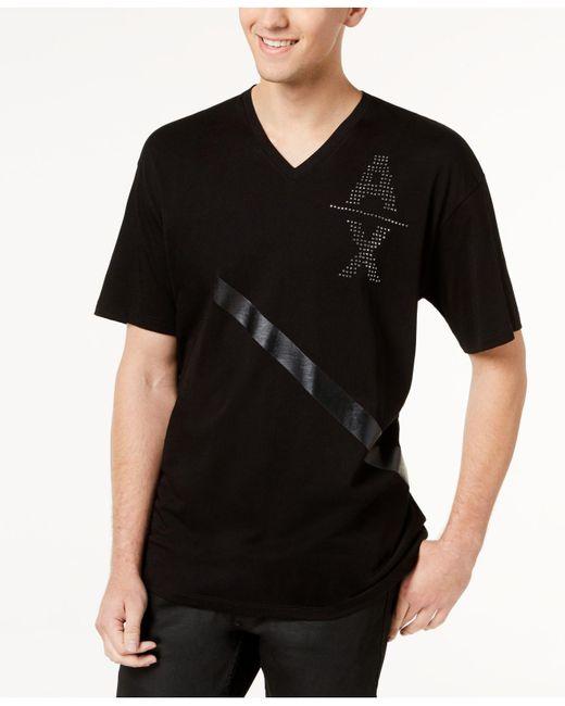 Armani Exchange - Black Men's Single Stripe Studded-logo V-neck T-shirt for Men - Lyst