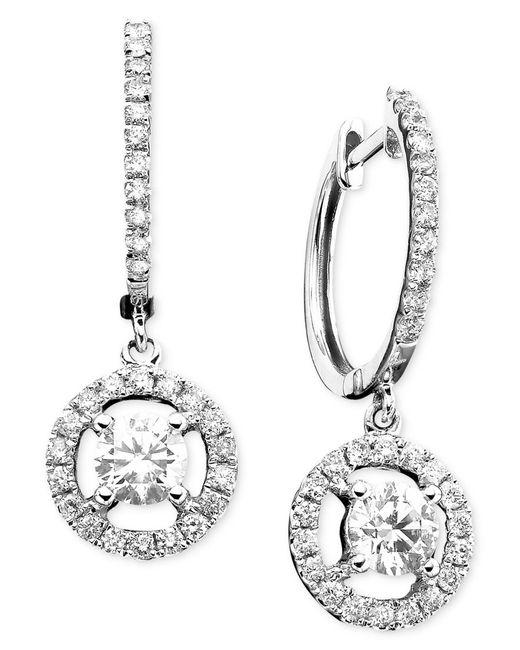 Macy's | 14k White Gold Earrings, Diamond Drop (7/8 Ct. T.w.) | Lyst