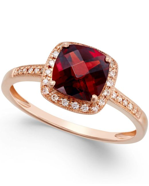 Macy's | Metallic Garnet (2-1/4 Ct. T.w.) And Diamond Accent Ring In 14k Rose Gold | Lyst