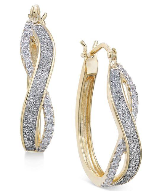 Macy S Metallic Diamond Glitter Infinity Hoop Earrings 1 6 Ct T W