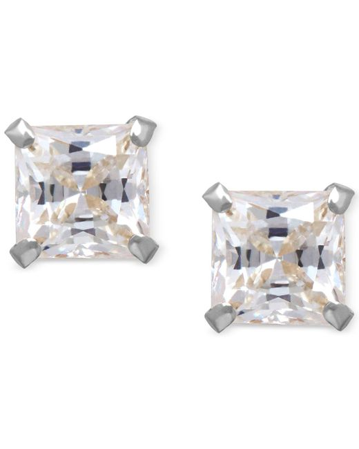 Macy's - Metallic Cubic Zirconia Square Stud Earrings In 14k Gold - Lyst