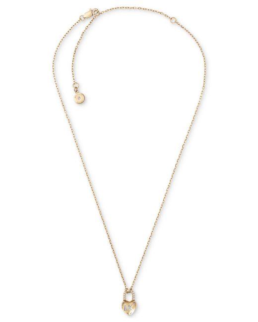 Michael Kors - Metallic Pavé Heart Lock Pendant Necklace - Lyst