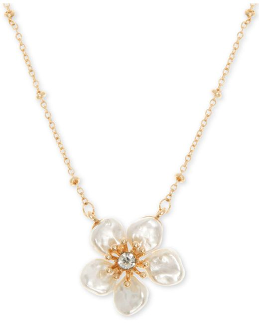 """Lonna & Lilly - White Gold-tone Crystal Flower Pendant Necklace, 16"""" + 3"""" Extender - Lyst"""