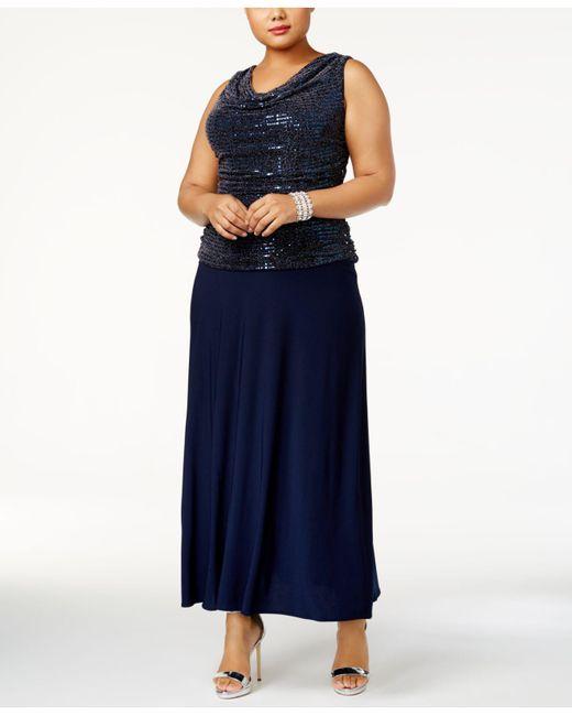 R & M Richards - Blue Plus Size Sequin Top Knit Dress - Lyst