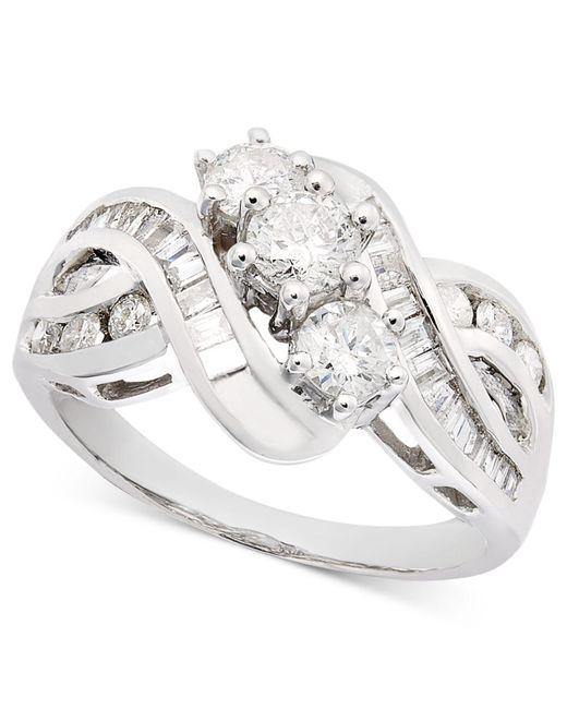 Macy's   Metallic Three-stone Diamond Braid Ring In 14k Gold (1 Ct. T.w.)   Lyst