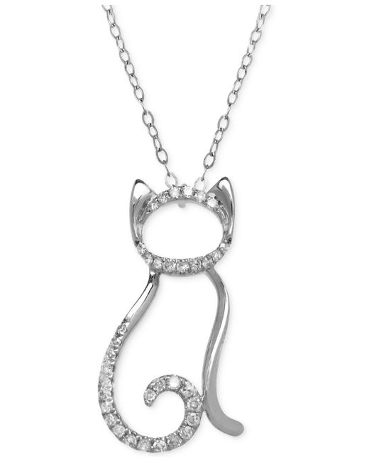Macy's - Metallic Diamond Cat Pendant Necklace (1/10 Ct. T.w.) In 10k White Gold - Lyst