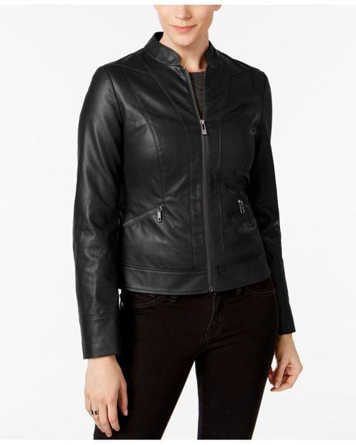 INC International Concepts - Black Faux-leather Moto Jacket - Lyst
