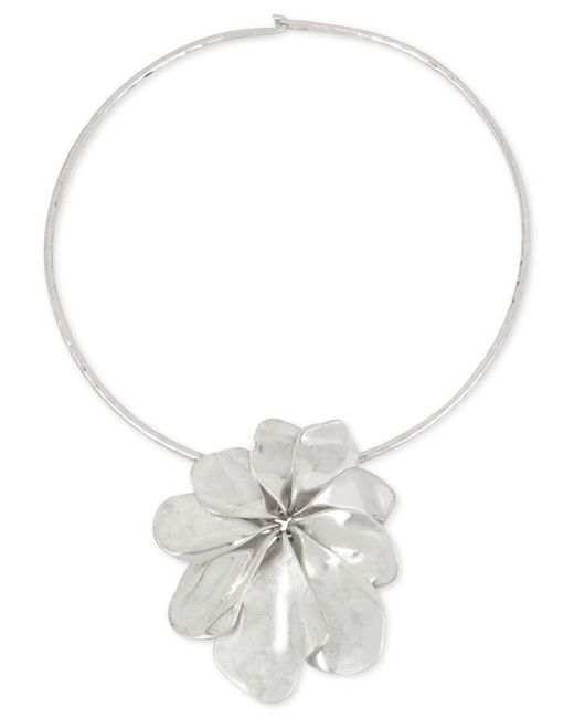 Robert Lee Morris - Metallic Sculptural Flower Pendant Wire Collar Necklace - Lyst
