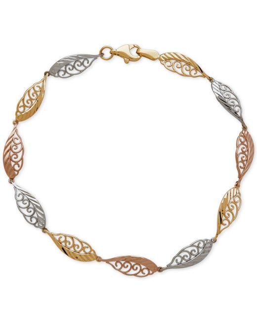 Macy's | Metallic Tri-tone Feather-look Filigree Link Bracelet In 14k Yellow, White And Rose Gold | Lyst