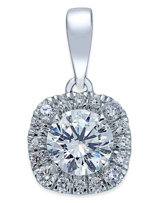 X3 | Metallic Diamond Halo Pendant Necklace (1 Ct. T.w.) In 18k White Gold | Lyst