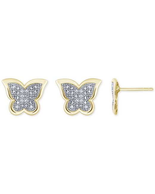 Macy's   Metallic Diamond Accent Butterfly Stud Earrings In 10k White, Yellow Or Rose Gold   Lyst