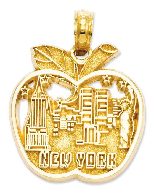 Macy's - Metallic 14k Gold Charm, Cut-out New York City Skyline Apple Charm - Lyst