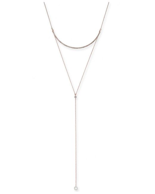 """INC International Concepts - Metallic Rose Gold-tone Crystal & Imitation Pearl Lariat Necklace, 12"""" + 2"""" Extender, Created For Macy's - Lyst"""