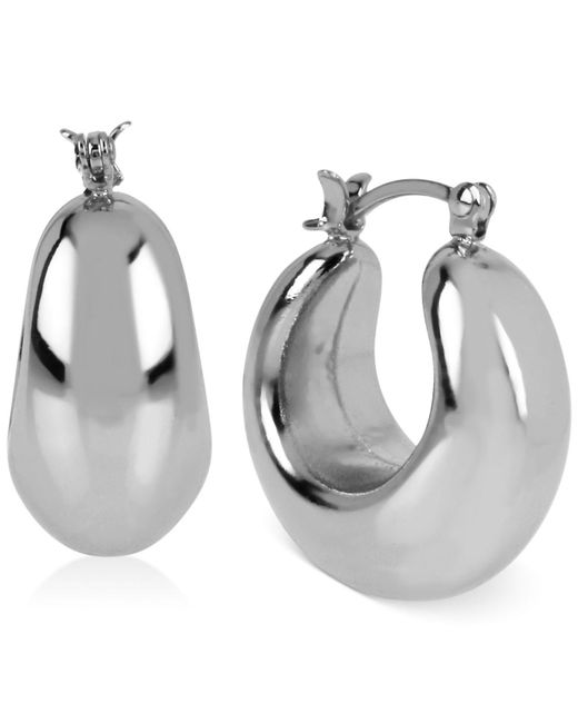 Touch Of Silver | Metallic Thick Hoop Earrings In Silver-plated Brass | Lyst