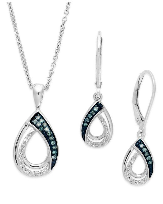 Macy's - Blue And White Diamond Jewelry Set In Sterling Silver (1/4 Ct. T.w.) - Lyst