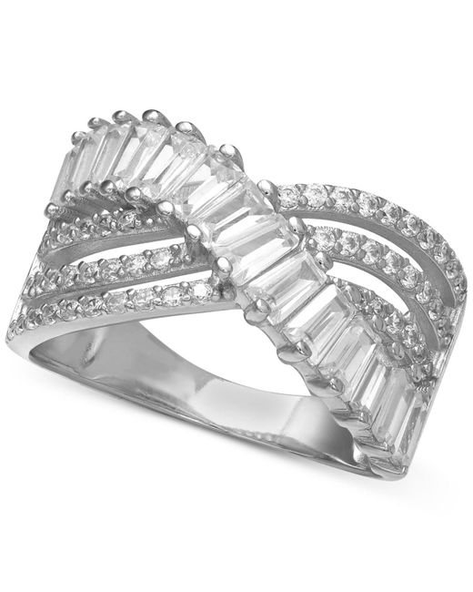 Macy's Metallic Cubic Zirconia Triple Row Baguette & Pave Crossover Ring (3 Ct. T.w.) In Sterling Silver Or 18k Gold Over Sterling Silver