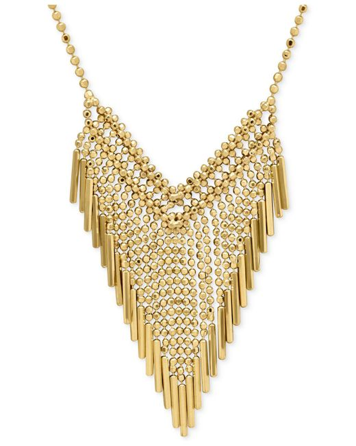 Macy's - Metallic Graduated Beaded Frontal Necklace In 14k Gold - Lyst