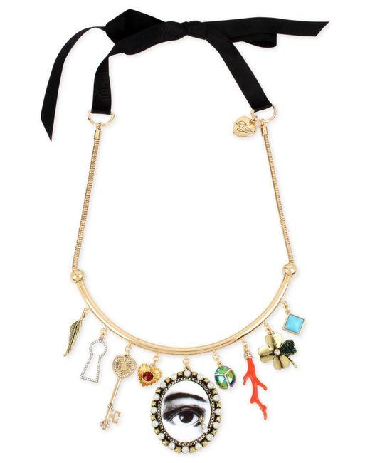 Betsey Johnson | Metallic Gold-tone Multi-charm Black Ribbon Choker Necklace | Lyst