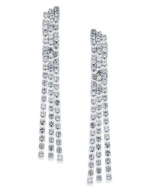 INC International Concepts | Metallic Silver-tone Crystal Chain Linear Drop Earrings | Lyst