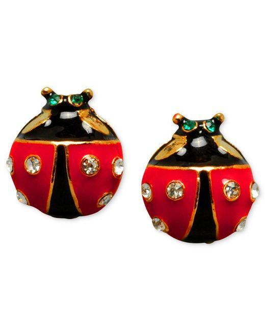 Betsey Johnson   Black Ladybug Stud Earrings   Lyst