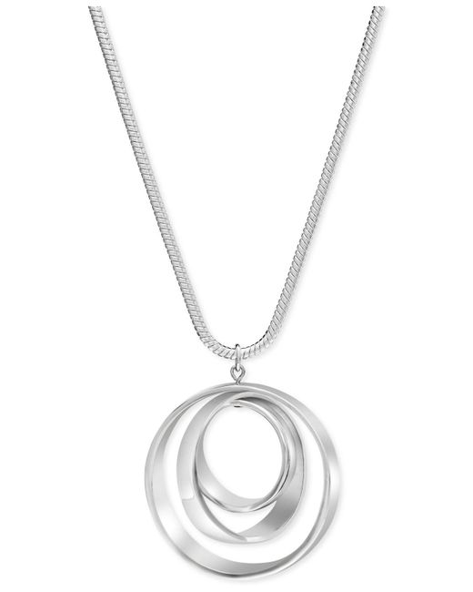 Charter Club - Metallic Silver-tone Orbital Pendant Necklace - Lyst