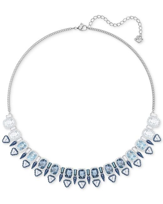 """Swarovski - Metallic Silver-tone Clear & Color Crystal Choker Necklace, 14-3/4"""" + 2"""" Extender - Lyst"""