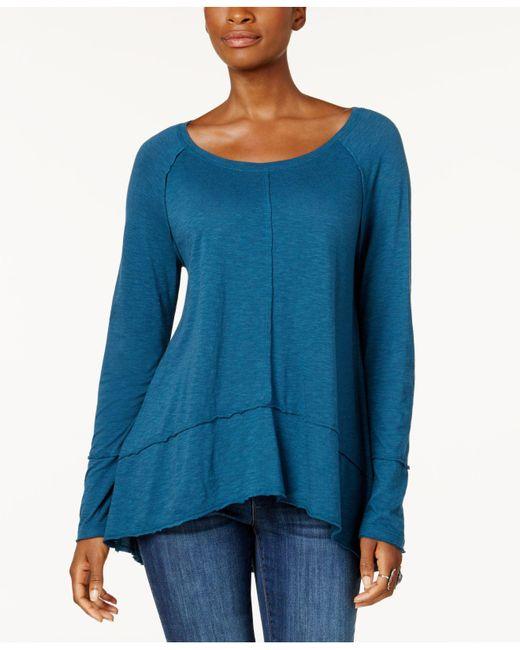 Style & Co. | Blue Petite Seamed Handkerchief-hem Top | Lyst