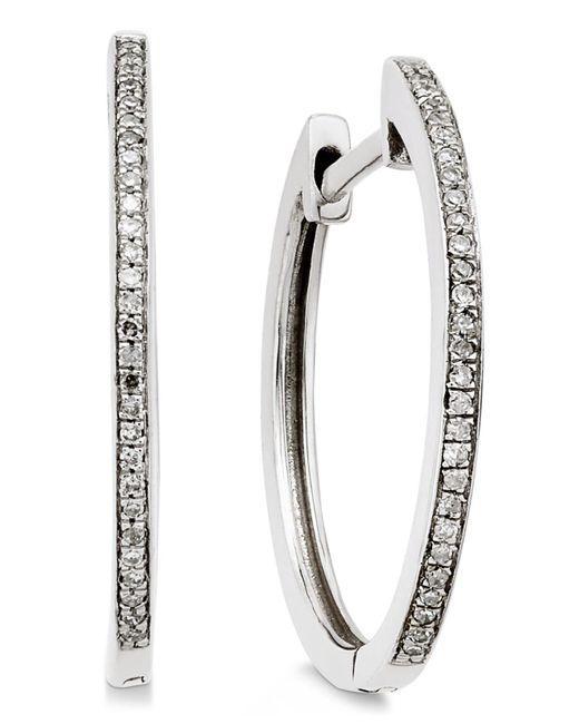 Macy's | Diamond Hoop Earrings (1/10 Ct. T.w.) In 14k White Gold | Lyst