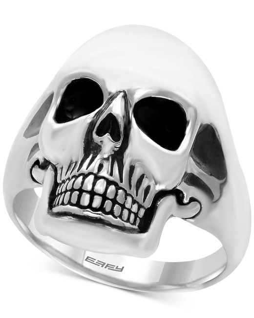 Effy Collection - Metallic Men's Skull Ring In Sterling Silver And Black Rhodium-plate - Lyst