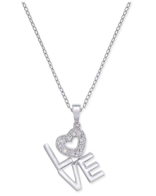 Macy's - Metallic Diamond Love Pendant Necklace (1/10 Ct. T.w.) In Sterling Silver - Lyst