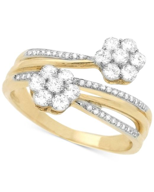 Wrapped in Love - Metallic Diamond Cluster Bypass Ring (3/4 Ct. T.w.) In 14k Gold - Lyst