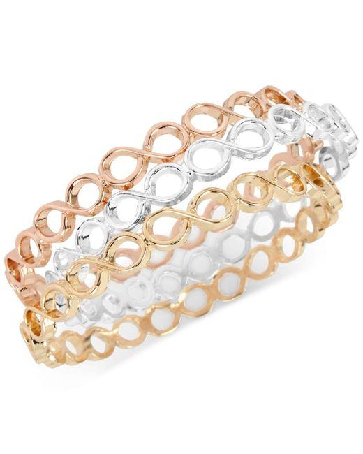 Touch Of Silver | Metallic Tri-tone 3-pc. Set Bangle Bracelets | Lyst