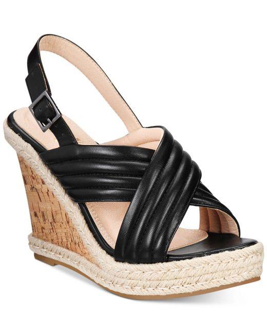 Callisto | Black Puff Crisscross Platform Wedge Sandals | Lyst