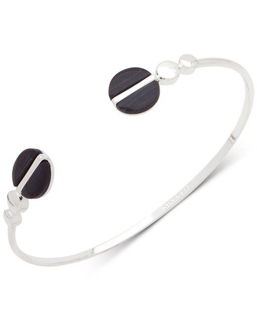 Nine West | Black Silver-tone Colored Disc Open Cuff Bracelet | Lyst