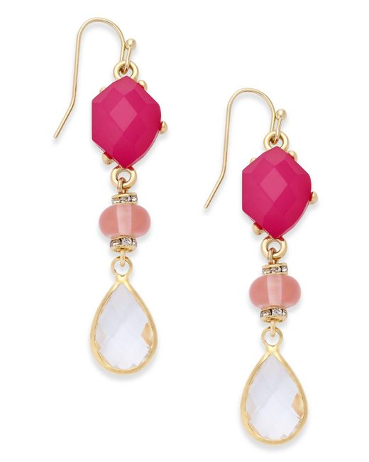 INC International Concepts | Gold-tone Pink & Clear Stone Drop Earrings | Lyst