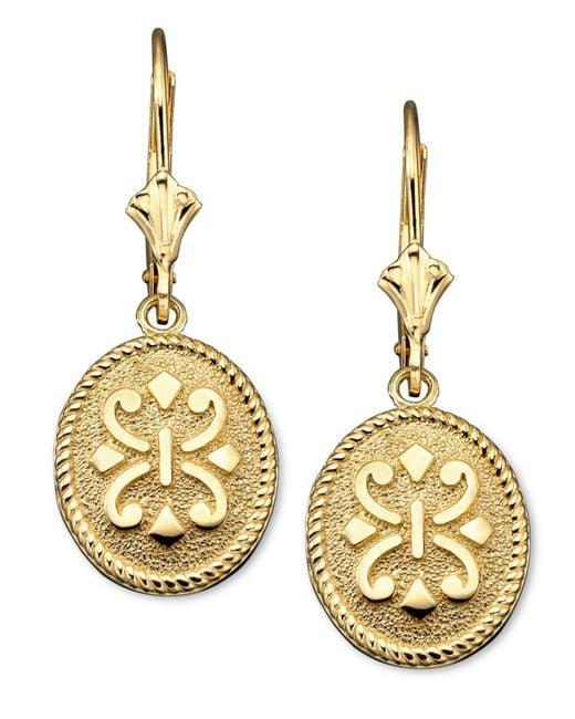 Macy's | Metallic 14k Gold Earrings, Oval | Lyst