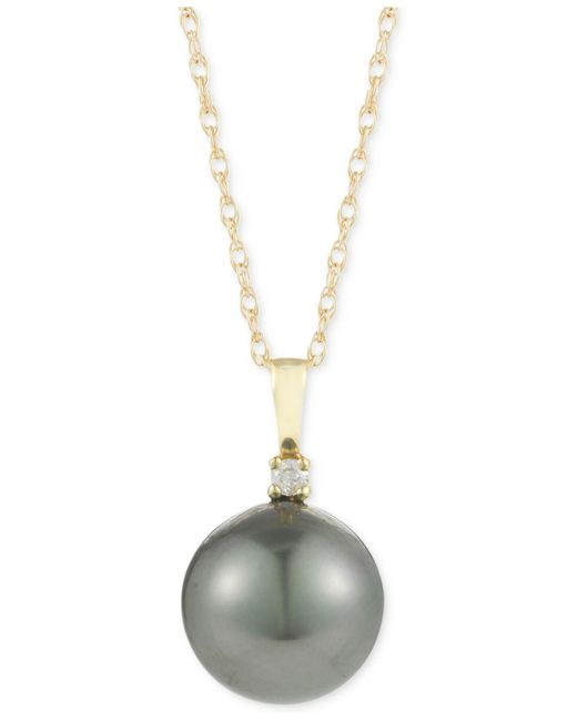 Macy's | Metallic Cultured Tahitian Pearl (10mm) And Diamond Accent Pendant Necklace In 14k Gold | Lyst
