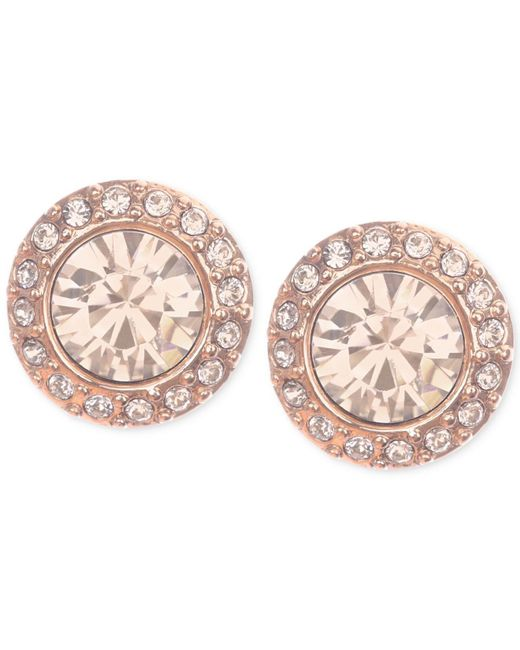 Givenchy - Pink Rose Gold-tone Pavé Button Stud Earrings - Lyst