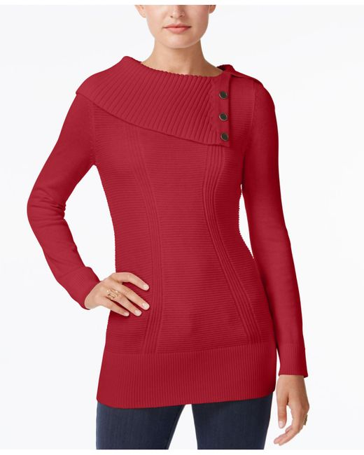 Style & Co. | Red Envelope-neck Sweater, Created For Macy's | Lyst