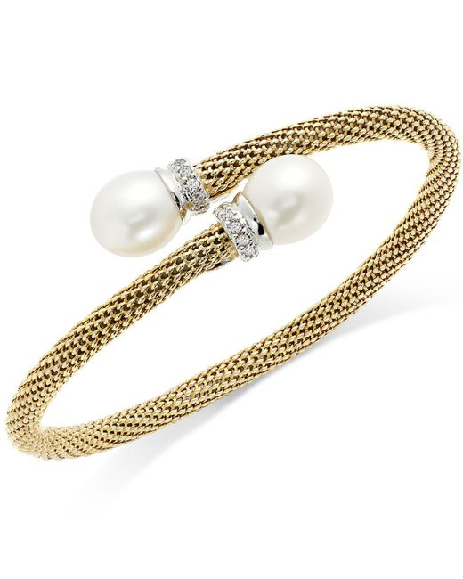 Macy's | White Cultured Freshwater Pearl Mesh Cuff Bracelet In 14k Gold Over Sterling Silver (10mm) | Lyst