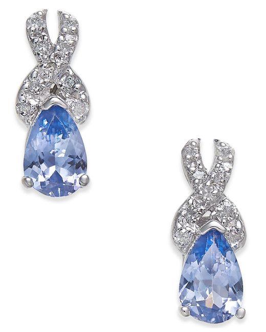 Macy's - Multicolor Tanzanite (3/4 Ct. T.w.) & Diamond (1/8 Ct. T.w.) Drop Earrings In 14k White Gold - Lyst