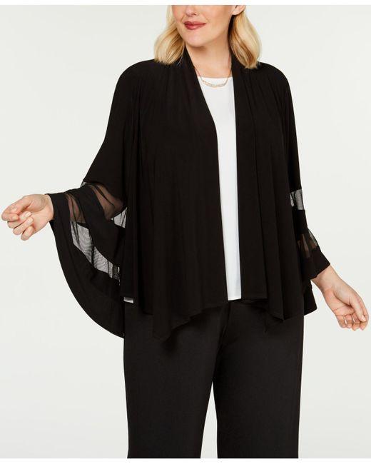 R & M Richards Black Plus Size Illusion-trim Jacket