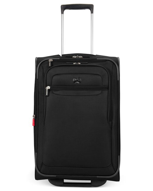 "Delsey | Black Helium Fusion 21"" Expandable Rolling Suitcase for Men 