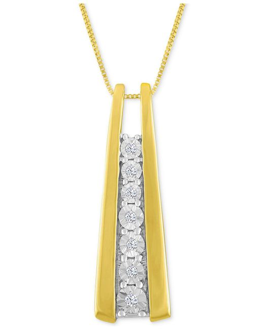 Macy's | Metallic Diamond Accent Ladder Pendant Necklace In 10k Gold Or White Gold | Lyst