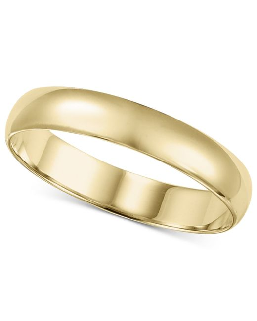 Macy's | Metallic 14k Gold Ring, 4mm Wedding Band for Men | Lyst