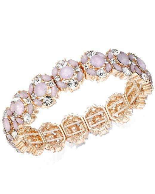 Charter Club | Rose Gold-tone Crystal & Pink Stone Stretch Bracelet | Lyst