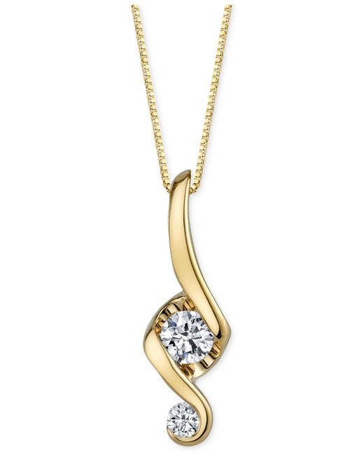 Proud Mom - Natural Diamond Swirl Pendant Necklace (1/10 Ct. T.w.) In 14k Gold - Lyst