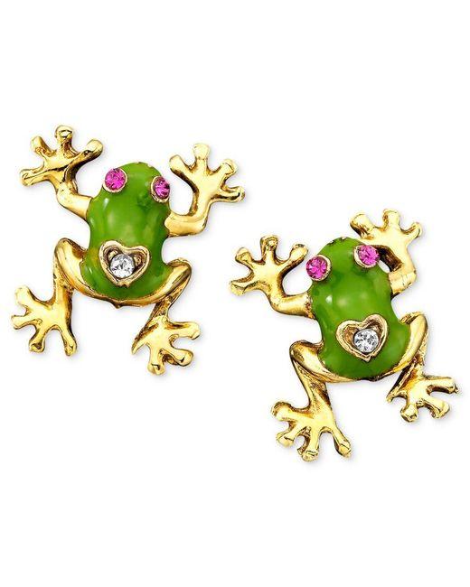 Betsey Johnson | Green Frog Stud Earrings | Lyst
