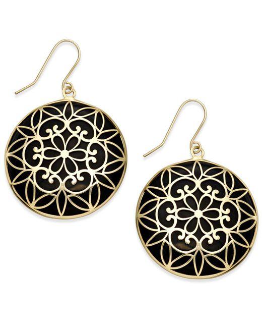 Macy's - Metallic Onyx Decorative Medallion Drop Earrings (23mm) In 14k Gold - Lyst