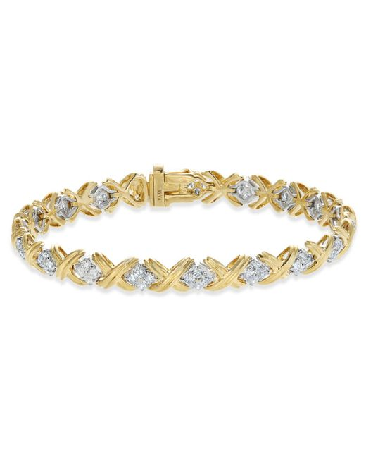 Macy's | Metallic Diamond Cluster X Link Bracelet (2 Ct. T.w.) In 14k Gold And White Gold | Lyst